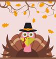 cartoon turkey thanksgiving background vector image