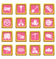 coal mine icons set pink square vector image vector image