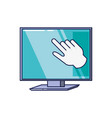 computer monitor with hand cursor vector image vector image