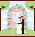 couple cutting wedding cake arch flowers save the vector image vector image