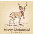 Cute Christmas hand drawn retro postcard with deer
