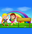 cute girl and boy in the park on rainbow day vector image vector image