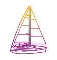 degraded line sailing boat style transport sea vector image vector image