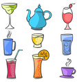 drink set various doodle art vector image vector image