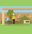 elderly family couple on bbq vector image