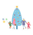 family mother and kid walking christmas tree vector image vector image