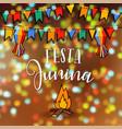 festa junina brazilian june party greeting card vector image vector image