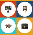 flat icon lifestyle set of clock briefcase vector image vector image