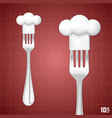 fork with chef hat vector image vector image