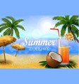 fresh drinking coconut with a straw vector image vector image
