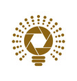 golden shutter shaped bulb icon vector image vector image