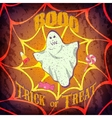 Grunge Halloween card or poster with ghost and vector image