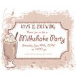 hand drawn milkshake party invitation card vintage vector image vector image