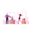 happy family mother father and little son moving vector image vector image