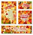 hello autumn fall season sale banner template set vector image vector image