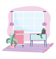 home room furniture cabinet table plant and vector image vector image