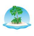 island icon with palm trees vector image