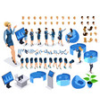 isometric set business character with gadgets vector image vector image