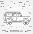 Jeep thin line Jeep travel grey and white vector image