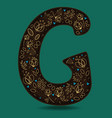 letter g with golden floral decor vector image vector image