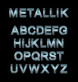 metallic alphabet set vector image