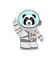 panda wearing astronaut suit raise one finger