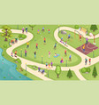 people in city park sport activity and leisure vector image