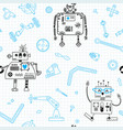 seamless pattern with robots and details for vector image vector image