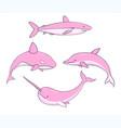 set cute pink underwater life creatures vector image vector image