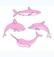 set of cute pink underwater life creatures vector image vector image