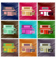 set of flat icons in shading style building vector image vector image