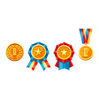 set of gold medals with colored ribbon vector image