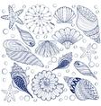 set shells zentangle blue seashells vector image
