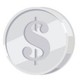 silver coin with dollar sign flat icon vector image