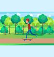 skateboarder moving on high speed green skatepark vector image