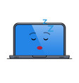 sleeping laptop computer isolated emoticon vector image vector image