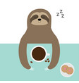 sloth sleeping i love coffee cup biscuit cookie vector image vector image