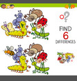 spot the differences with cute insects vector image