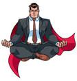 super businessman meditating on white vector image vector image