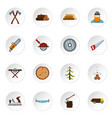 timber industry icons set flat style vector image vector image