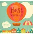 Travel Poster with Hot Air Balloon vector image