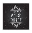 Vegetarian - product label on chalkboard vector image vector image