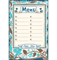 Vintage Candid Menu in Blue vector image