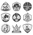 vintage monochrome jazz music labels set vector image vector image