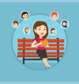 woman surfing in the social network vector image vector image