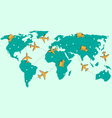 World map with air planes and trucks isolated on vector image vector image