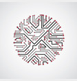 abstract computer circuit board monochrome round vector image vector image