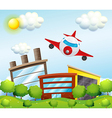An airplane in the city vector image vector image