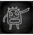 angry alien drawing on chalk board vector image vector image