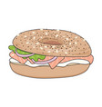bagel sandwich with cream cheese and salmon vector image vector image